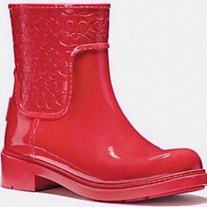 Coach Signature Rain Boot True Red 9 New in Box